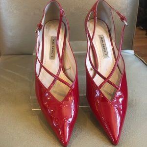 Zara red patent leather kitten heel Pumps